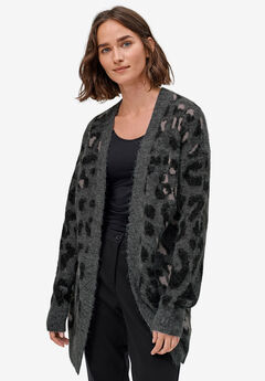 Animal Print Jacquard Cardigan by ellos®, HEATHER CHARCOAL LEOPARD