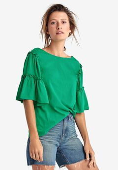 Ruffle Bell Sleeve Top by ellos®, KELLY GREEN