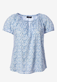 Keyhole Neckline Peasant Blouse by ellos®, WHITE BLUE PRINT