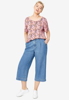 Wide-Leg Crop Jeans by ellos®,