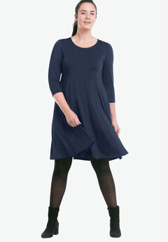 Fit-and-Flare Knit Dress by ellos®, RICH NAVY