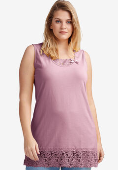 Lace Trim Tunic Tank by ellos®, DUSTY PINK