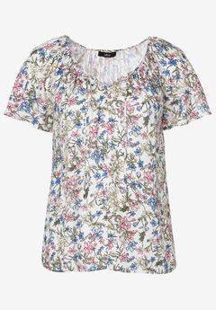 Flutter Sleeve Tunic by ellos®, WHITE MULTI FLORAL