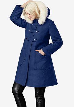 Faux Fur Trim Wool-Blend Coat,