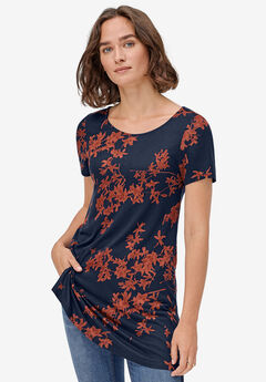 Side Slit A-Line Tunic by ellos®, NAVY RED OCHRE PRINT