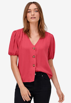 Contrast Button-Front Blouse by ellos®, ANTIQUE STRAWBERRY