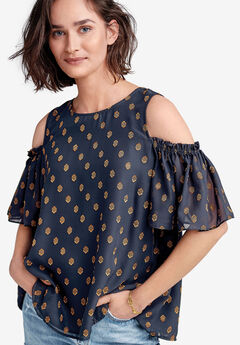 Cold-Shoulder Sheer Sleeve Blouse by ellos®, NAVY