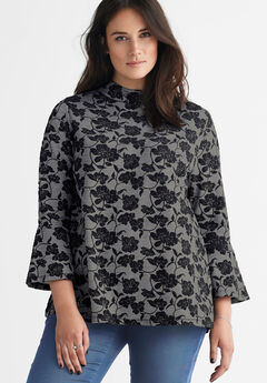 Mock Neck Jacquard Top by ellos®, MEDIUM HEATHER GREY BLACK FLORAL