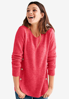 Button Trim Pullover Sweater by ellos®, PERSIAN RED