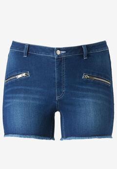 Zip Pocket Stretch Denim Shorts by ellos®,