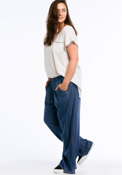ec51b49e8c3 Wide Leg Elastic Waist Denim Pants by ellos®