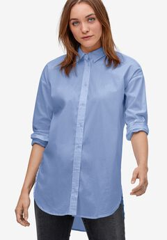 Relaxed Button Front Tunic Shirt,