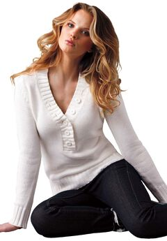 Button Y-neck Sweater by ellos®,