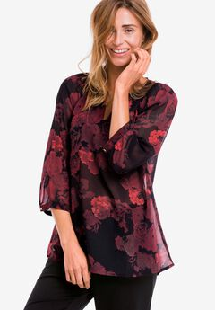Sheer Print Blouse by ellos®,