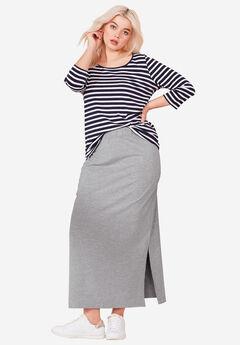 Knit Maxi Skirt by ellos®, HEATHER GREY