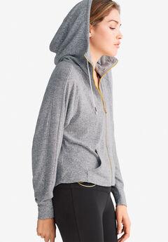 Zip-Front Marled Sweatshirt by ellos®, GREY MARLED