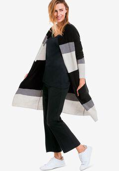 Striped Open Cardigan Sweater,