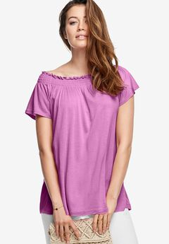 Smocked Neck Tee by ellos®,