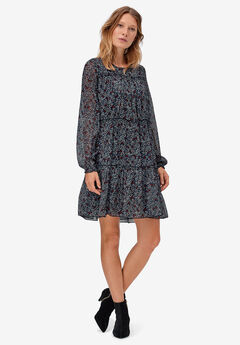 Tier Ruffle Peasant Dress by ellos®, NAVY DITSY FLORAL