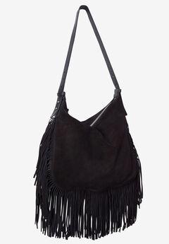 Suede Fringe Handbag by ellos®, BLACK