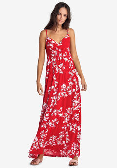 Knit Surplice Maxi Dress by ellos®, HOT RED WHITE FLORAL
