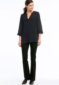 Oversized V-neck Sheer Blouse by ellos®,