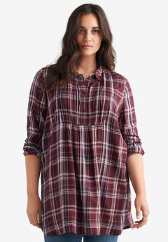 Plaid Pleated Yoke Tunic by ellos®,