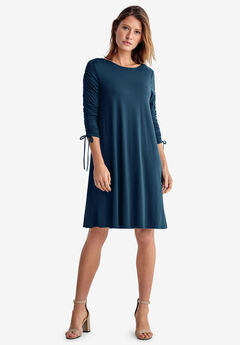 Drawstring Sleeve Knit Dress by ellos®,
