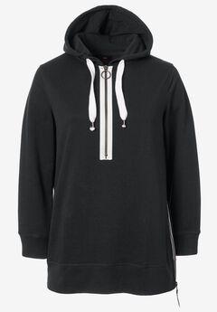 Side-Zip Sweatshirt Tunic by ellos®, BLACK