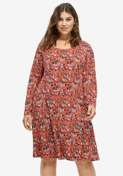 b8a0976aade Printed Long Sleeve A-line Dress by ellos®
