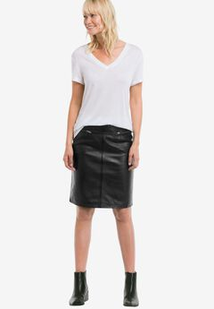 Zip Pocket Leather Skirt by ellos®,