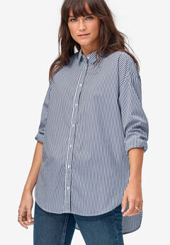 Relaxed Button Front Tunic Shirt by ellos®, NAVY/WHITE STRIPE