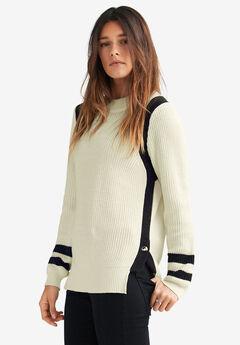 Side Stripe Mockneck Sweater by ellos®, IVORY