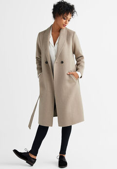 Double-Breasted Wool-Blend Coat by ellos®,