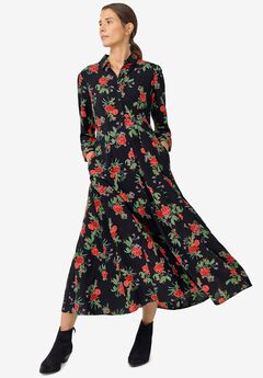 Button Front Maxi Shirtdress by ellos®,