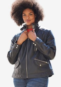 Zip Front Leather Jacket by ellos®,