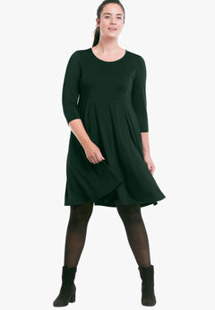 Fit-and-Flare Knit Dress by ellos®, DEEP EMERALD