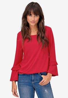Ruffle Sleeve Top by ellos®, PERSIAN RED