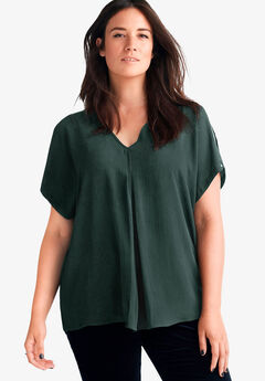 Slit Sleeve Blouse by ellos®, MIDNIGHT GREEN