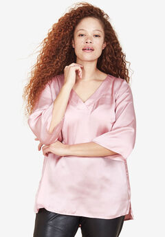 V-Neck Satin Tunic by ellos®,