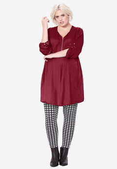 Zip-front sateen tunic by ellos®, MAROON RED