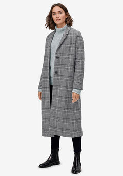 Wool-Blend Long Plaid Coat,