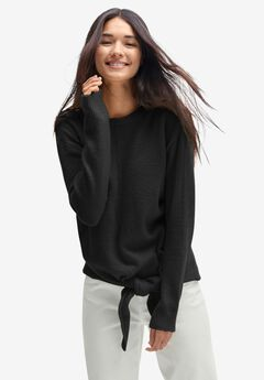 Tie-Front Pullover Sweater,