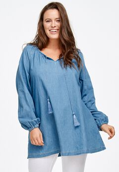 Denim Peasant Tunic by ellos®,