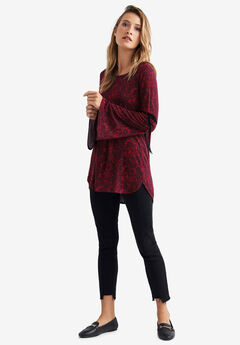 Velvet Tie Bell Sleeve Tunic by ellos®, RED PAISLEY