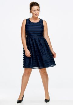 Sleeveless Striped Party Dress by ellos®,
