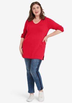 V-Neck Sweater Tunic by ellos®, PERSIAN RED