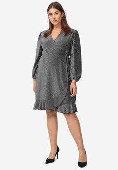 Glitter Knit Wrap Dress by ellos®,