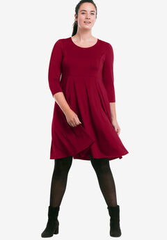 Fit-and-Flare Knit Dress by ellos®, RICH BURGUNDY