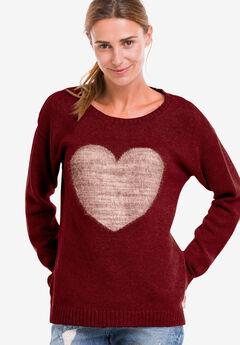 Love Ellos Sweater by ellos®, RICH BURGUNDY OYSTER GREY